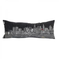 Machine Embroidered Scenic cushion featuring the New York cityscape 90cm x 36cm 100% Grey Wool ----- About the designer: Charlene Mullen From her training in both illustration, print and an established career in the fashion industry, she has successfully turned her talents to designing luxury homewares. Since the launch of the studio in September 2008 at 100% Design where she made the best newcomer list, she has won international acclaim having work shown in London, Paris, Milan and New York…