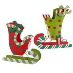 "RAZ 11"" Green Red Polka Dot Sleigh"