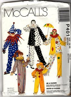 Fun Adult McCalls Clown Costume Pattern with 5 Views by wysrwmn, $5.00