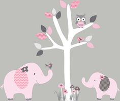 Mini Jungle Decals Small elephant Wall by StickItDecalDesigns, $36.00