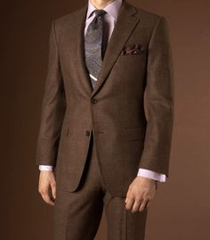 Brown suit with blue windowpane