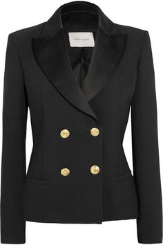 Pierre Balmain - Double-breasted Crepe Blazer - Black - FR36