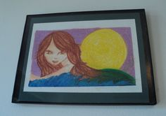 Rising Mermaid ORIGINAL $50.00 USD Original mermaid art piece that comes with mat and frame.  Original art piece is 6.5x9 Matted onto green board size 8x10 Frame is 8.5x11