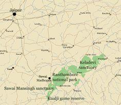 Map showing Ranthambore, Sawai Madhopur, Jaipur, Keladevi sanctuary, Sawai Mansingh sanctuary and Kualji game reserve