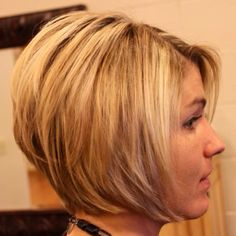 A line bob - hmitchellsalon.com  My favorite shorts hair cut! You have to be talented to do this...My stylist is AMAZING at it!!!
