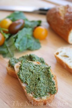 Kale Pesto - Cut any bitterness of the Kale and spread on bread or whole week pasta