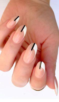 White French Nails, Blue And White Nails, White Tip Nails, French Manicure Nails, French Nail Art, French Nail Designs, Black Nail Designs, French Tip Nails, Nail Art Designs