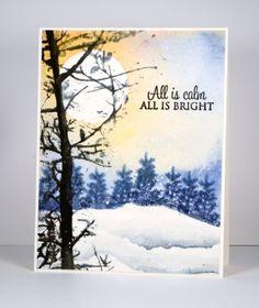 Soft Whisper, All is bright, Prancers: PB, Black Soot, Stormy sky distress inks (Ranger) Onyx Black Versafine ink (Tsukineko) Paint: Dr Ph Martin Hydrus watercolour, winter,  Heather Telford