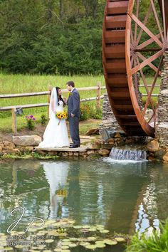 c63e71abc63c The Barn Event Center of the Smokies, Bride and Groom by waterwheel, bride  and groom reflection, outdoor weding pictures, Knoxville wedding  photographer, ...