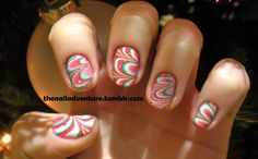 Christmas watermarble nail art