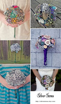 Items similar to Custom Wedding Brooch Bouquets - Heirloom, Color Theme, Black & White or Colorful on Etsy Broach Bouquet, Wedding Brooch Bouquets, Bride Bouquets, Flower Bouquets, Wedding Events, Our Wedding, Dream Wedding, Wedding Stuff, Wedding Accessories