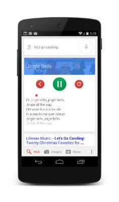 "Google Now trick: ""Let's go caroling"" search brings Christmas carol karaoke support, with lyrics and music"