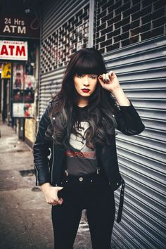 love this girly punk street style; suspenders for women, punk straight bangs, bold red lip, black jeans