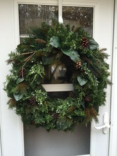 Pinecones with Magnolia Leaves and Juniper Berries Winter Wreath - Wreaths By Julie Artificial Christmas Wreaths, Christmas Wreaths For Front Door, Christmas Greenery, Xmas Wreaths, Natural Christmas, Christmas Home, Christmas Crafts, Pine Cone Decorations, Christmas Decorations