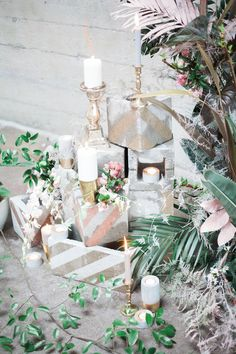 wedding ceremony decor - photo by Katt Willson http://ruffledblog.com/stylish-tropical-wedding-inspiration-in-the-pacific-northwest