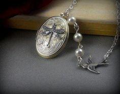 Silver Dragonfly Locket Dragonfly