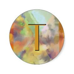Autumn Customizable Abstract Classic Round Sticker. Change the letter to your own initial. Cool gifts with many uses.