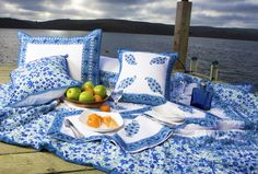 Quilts From India - Blue Quilts - Hand Block Printed from Attiser