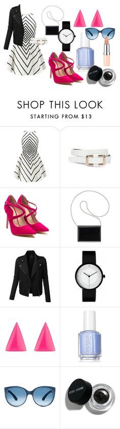 """""""k"""" by sparklemonkey12 ❤ liked on Polyvore featuring Halston Heritage, Nine West, LE3NO, Alexis Bittar, Essie, Bobbi Brown Cosmetics and Rimmel"""