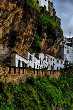 Setenil de las Bodegas, amazing rock village, built along a narrow river gorge eroded by the Trejo river in Cadiz (Andalusia, Spain) Places Around The World, Oh The Places You'll Go, Places To Travel, Places To Visit, Around The Worlds, Wonderful Places, Great Places, Beautiful Places, Cadiz Spain