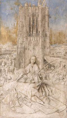 Jan van Eyck - Saint Barbara (Royal Museum of Fine Arts Antwerp) 1395 - 1441 ヤン・ファン・エイク Renaissance Kunst, Renaissance Artists, Jan Van Eyck Paintings, Ghent Altarpiece, Saint Barbara, Silverpoint, Brush Drawing, Hieronymus Bosch, Grisaille