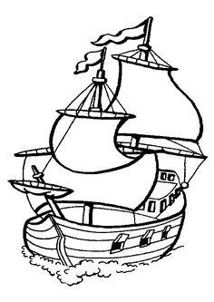 Dessin à colorier d'un bateau pirate navigant sur l'océan