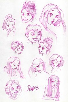 Disney-style drawing of girls - Drawing Reference
