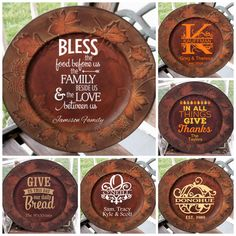 "13"" Decorative Personalized Leaf/Pinecone Charger Plate - Kelly Belly Boo-tique"