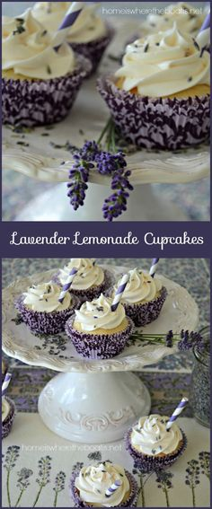 Lavender Lemonade Cupcakes, a quick and easy recipe using a boxed cake mix, frozen lemonade concentrate and dried culinary lavender!I wonder if I can make this recipe using coconut flour. Frozen Lemonade Pie, Frozen Strawberry Lemonade, Frozen Fruit, Lavender Cupcakes, Lavender Cake, Lavander, Cupcake Recipes, Cupcake Cakes, Dessert Recipes
