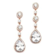 Glamorous Crystal Pear Drop Earrings In Rose Gold $66