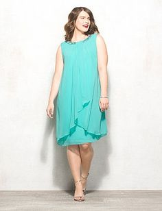 Plus Size Chiffon Embellished Neck Dress