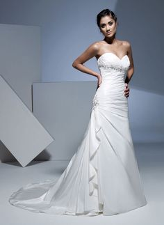 Amazing A-line dropped waist taffeta wedding