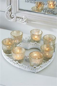 Metal candle tray #mycosyhome Candle Tray, Candle Holders, Candles, Easter Table, Easter Decor, Xmas Wishes, Buy Metal, Home Comforts, Room Accessories
