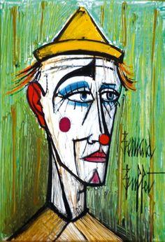 Bernard Buffet Clown, huile sur isorel, signée, 55 x 38 cm. Clown Paintings, Illustrator, Drawing Portraits, Drawings, Pierrot, Send In The Clowns, Edvard Munch, Pencil Portrait, French Art