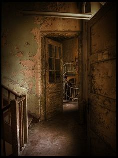 He wasn't sure what was in the stairwell but he knew it wasn't human. He slowly approached the door and gulped before looking through the glass. He could feel his pulse racing and told himself he would not gasp no matter what he saw.