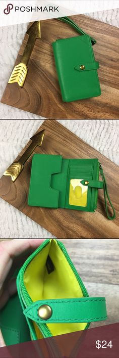 IIIBeCa by Joy Gryson Tech Wallet/wristlet green IIIBeCa by Joy Gryson Tech Wallet/wristlet  Green with yellow detail retails $58 A smooth, structured wristlet is the perfect compact carryall. The snap opens to a contrast, leather-lined interior with a phone compartment, 1 bill slot, 3 card slots, and an ID window. Exterior coin pouch.  Leather: Cowhide. Imported, China.  MEASUREMENTS Height: 5in / 12.5cm Length: 3in / 7.5cm IIIBeCa Bags Clutches & Wristlets