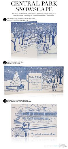 Central Park Snowscape - See how Ceci New York hand draws a glamorous, wintry scene for a save-the-date to a wedding at The Loeb Boathouse Central Park - 1. A half fold illustration of the park, the couple, and the skyline 2. Save-the-date details are tucked inside 3. The back features both the boathouse and the couple's dog #hand #drawn #savethedate #centralpark #nyc #letterpress #iceskater #navy #blue #offwhite