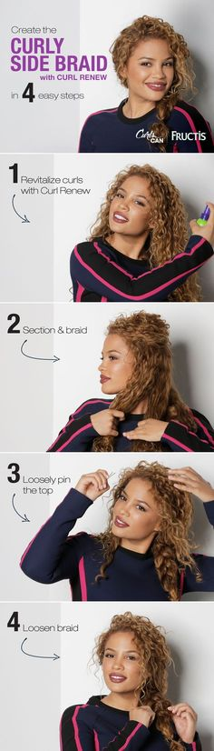 Curly hair is perfect for a messy braid! watch andreas choice create this simple curly side braid hairstyle using curl renew spray to keep her curls hydrated and frizz free because curlscan! lauren conrad on how to perfect a beachy side braid byrdie com Side Braid Hairstyles, Trendy Hairstyles, Wedding Hairstyles, Hairstyle Ideas, Bun Hairstyle, Hairstyles Haircuts, Side Braid With Curls, Side Braids, Messy Braids
