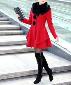 Stunning Style Long Sleeves Worsted Rhinestone Buttons Decoration Women's Coat, RED, M in Jackets & Coats   DressLily.com