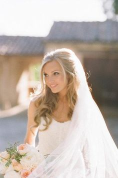 bridal hair down with veil | hair down with veil | Wedding inspiration
