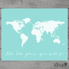 Hey, I found this really awesome Etsy listing at https://www.etsy.com/listing/195413105/world-map-tiffany-blue-nursery-wall-art