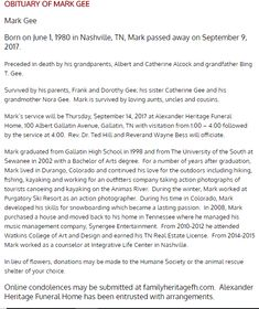 Obituary of Mark Gee Passed Away, Sisters, Death