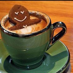 Ginger bread cookie & a cup of coffee....So cute!! Like relaxing in a little hot tub!!!