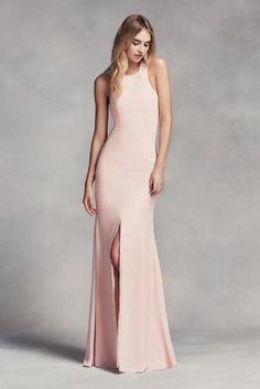 Long Halter Bridesmaid Dress with Skirt Slit VW360297