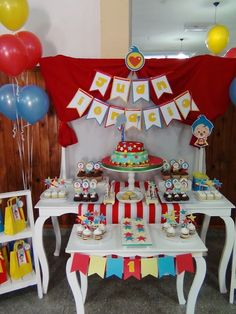 PLIM PLIM Mesa dulce temática Plim Plim Cumpleaños Plim Plim Brownie Lemon Pie Rogelitos Cookies Popcakes Cupcakes Happy 2nd Birthday, Birthday Parties, Baby E, Ideas Para Fiestas, Circus Party, I Party, Party Themes, Party Ideas, First Birthdays