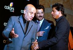 Indian Bollywood actors (L-R) Anupam Kher, Anil Kapoor and Shah Rukh Khan attend the Colors IAA Awards. Indian Bollywood Actors, Anupam Kher, Sr K, Shahrukh Khan, Sports And Politics, Leadership, Awards, Singer, Colors