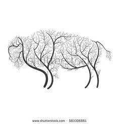 Bison stylized bushes on a white background for use as logos on cards, in printing, posters, invitations, web design and other purposes.