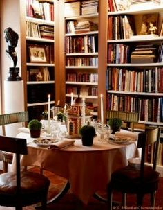 Great atmosphere of library-dining area .  The Collected Library presented by kathryn c greeley north carolina interior designer and author