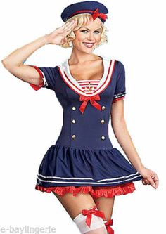 Navy Sea Sailor Girl Ladies Fancy Dress Costumes Outfit | eBay