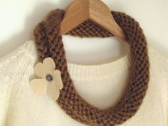 brown knitted necklace - Ready to ship by ana9112